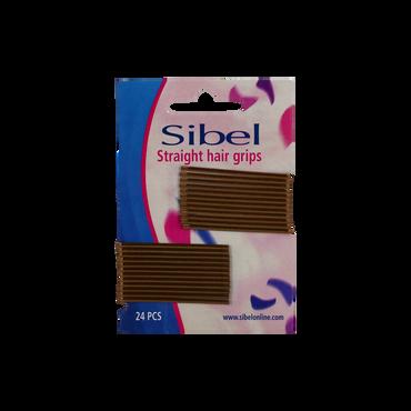 Sibel Straight Rechte Haarklemmen 50mm Bruin 24 Stk.